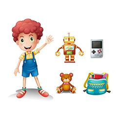 A young boy and his toys vector image vector image
