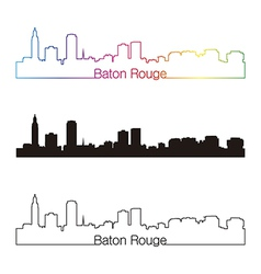 Baton Rouge skyline linear style with rainbow vector image vector image