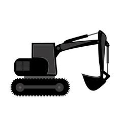 black backhoe loader icon vector image