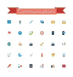 Communications Flat Icons vector image vector image