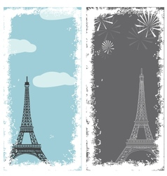 grunge banners with eiffel tower vector image vector image