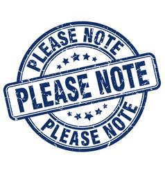 Please note blue grunge stamp vector