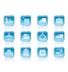 shipping and transportation icons vector image