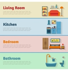 Banners with furniture icons for rooms of house vector image