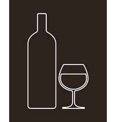 Bottle and glass of alcohol vector image vector image