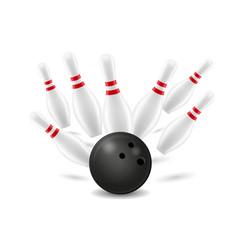 bowling ball and pin vector image vector image