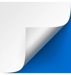 Curled corner of White paper on Blue Background vector image vector image