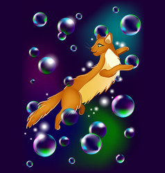 Happy cat flying in the soap bubbles vector