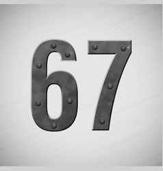 metal numbers 6 and 7 vector image vector image