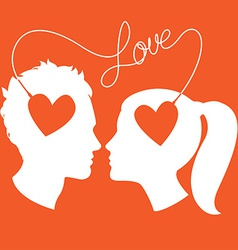 Profiles of man and woman connected by love wire vector image vector image