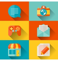 Social media concept in flat design style vector image vector image