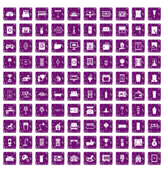 100 interior icons set grunge purple vector image