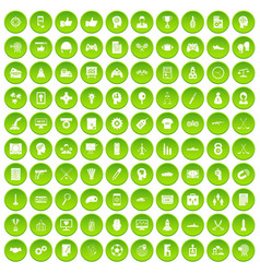 100 strategy icons set green vector