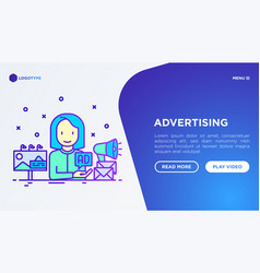 Advertising concept woman gives ad on billboard vector