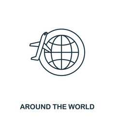around world icon outline thin line style vector image