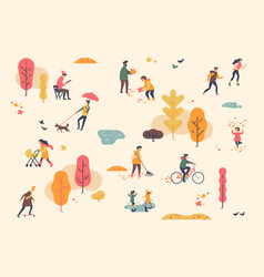 autumn in city park lovely minimalist background vector image