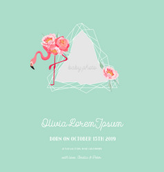 baby arrival announcement flamingo photo frame vector image