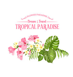 Beautiful card with a wreath tropical flowers vector