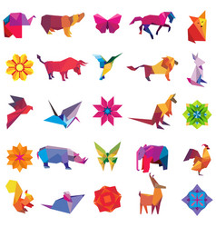 big set of animal origami figures vector image