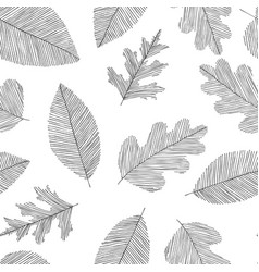 black and white seamless doodle pattern leaves vector image