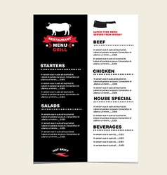Cafe menu grill template design vector image