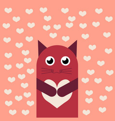 Card with cute cartoon little valentine cat vector