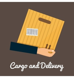 Cargo and delivery hands holding cardbox vector image