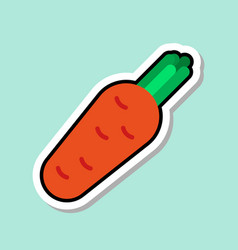 carrot sticker on blue background colorful vector image