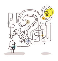 Cartoon businessman with maze and solution vector