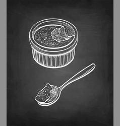 Chalk sketch creme brulee vector