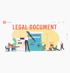 characters get notary professional service landing vector image