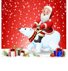 christmas background with santa claus riding polar vector image
