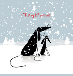 christmas card with dogs family vector image