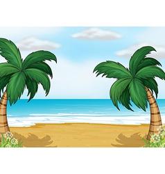 Coconut trees in the seashore vector
