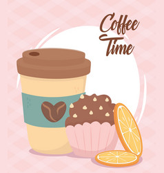 Coffee time takeaway cup cupcake and slices vector