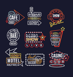 Colorful glowing signboards set retro neon street vector