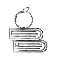 Contour school books with apple fruit icon vector