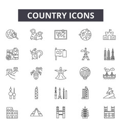 country line icons signs set linear vector image