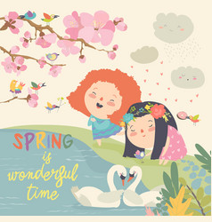 Cute little girls and birds playing in the spring vector