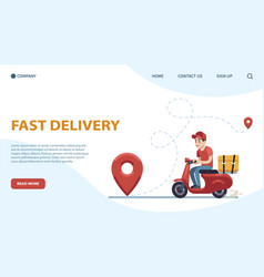 delivery landing page courier guy on moped vector image