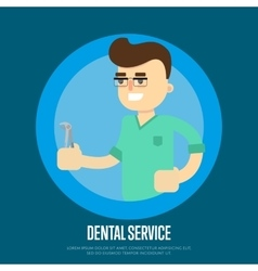Dental service banner with male dentist vector