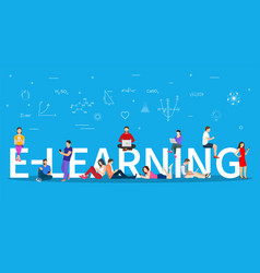e-learning concept young people with tablet vector image