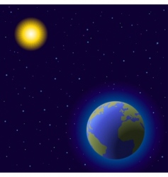 Earth and sun vector