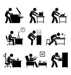 Employees using office equipments in workplace vector