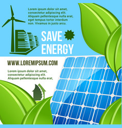 Energy saving and green eco technology poster vector