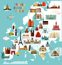 Europe travel map vector