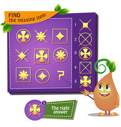 Find the missing item flower cross vector