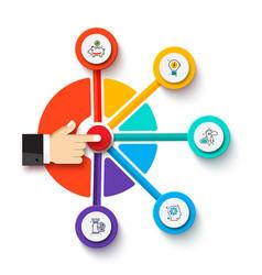 Finger presses button business process vector