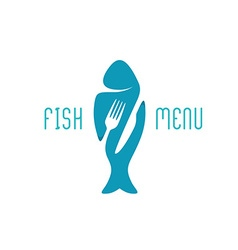Fish food restaurant menu title logo silhouette of vector