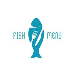 Fish food restaurant menu title logo silhouette vector